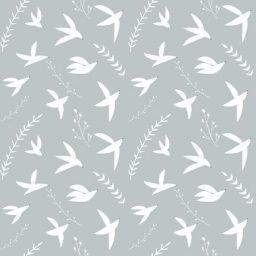 Tissu Pond Life Indigo designs birds in flight turquoise RJR Fabrics