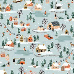 Tissu Holidays classics Sous la neige Rifle Paper Co